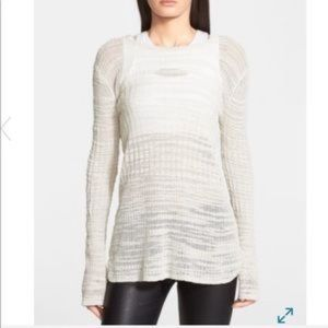 Helmut Lang sleeves knit white sweater